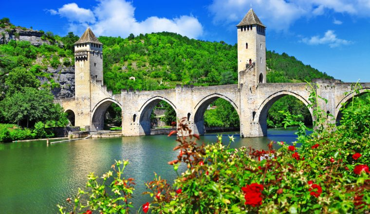 Cahors Valentre bridge,  UNESCO site the Pilgrim's Road to Santi