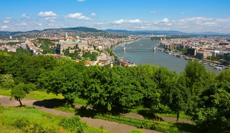 Budapest Panoramic view from The Gellert Hill with Danube river
