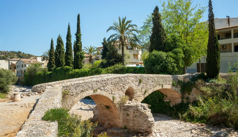 Old roman bridge at Pollenca, Mallorca, Spain