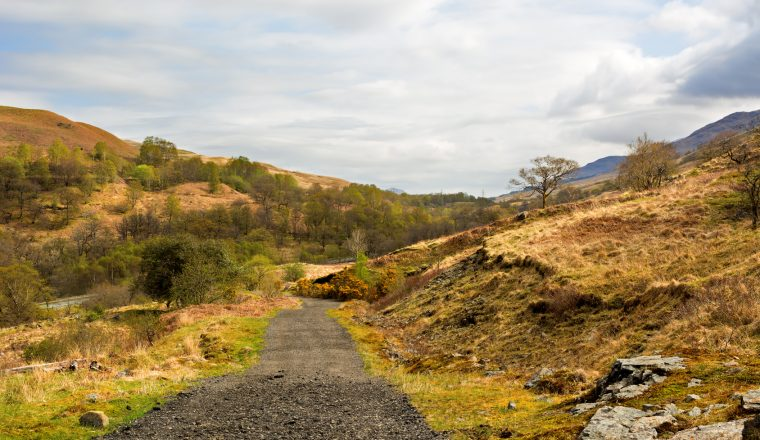 Rural gravel road in Scottish Highlands, West Highland Way. Beau