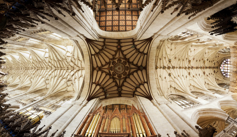 Vaulted ceiling of Winchester Cathedral